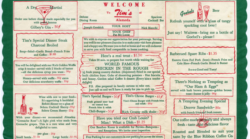 Tims Restaurant, Alameda, California, placemat menu_C
