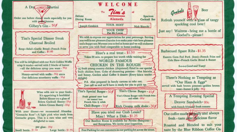 Tims Restaurant, Alameda, California, placemat menu_C