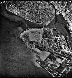 Alameda, California, Aerial view, 1968
