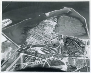 Bay Farm Island Aerial Photo steadily closing arms of new dyke in Bay, circa June 1966