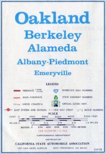 California State Automobile Association, Map of Oakland, Berkeley, Alameda, California, 1978, Legend