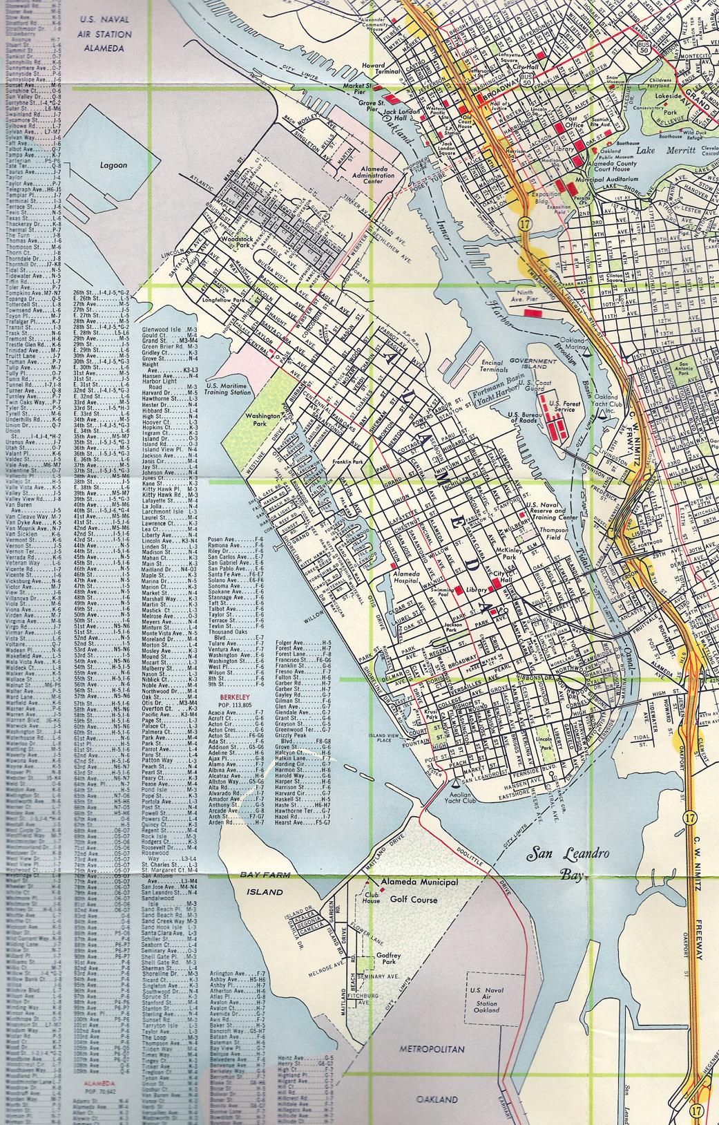 Alameda California 1960 old map Alamedainfo