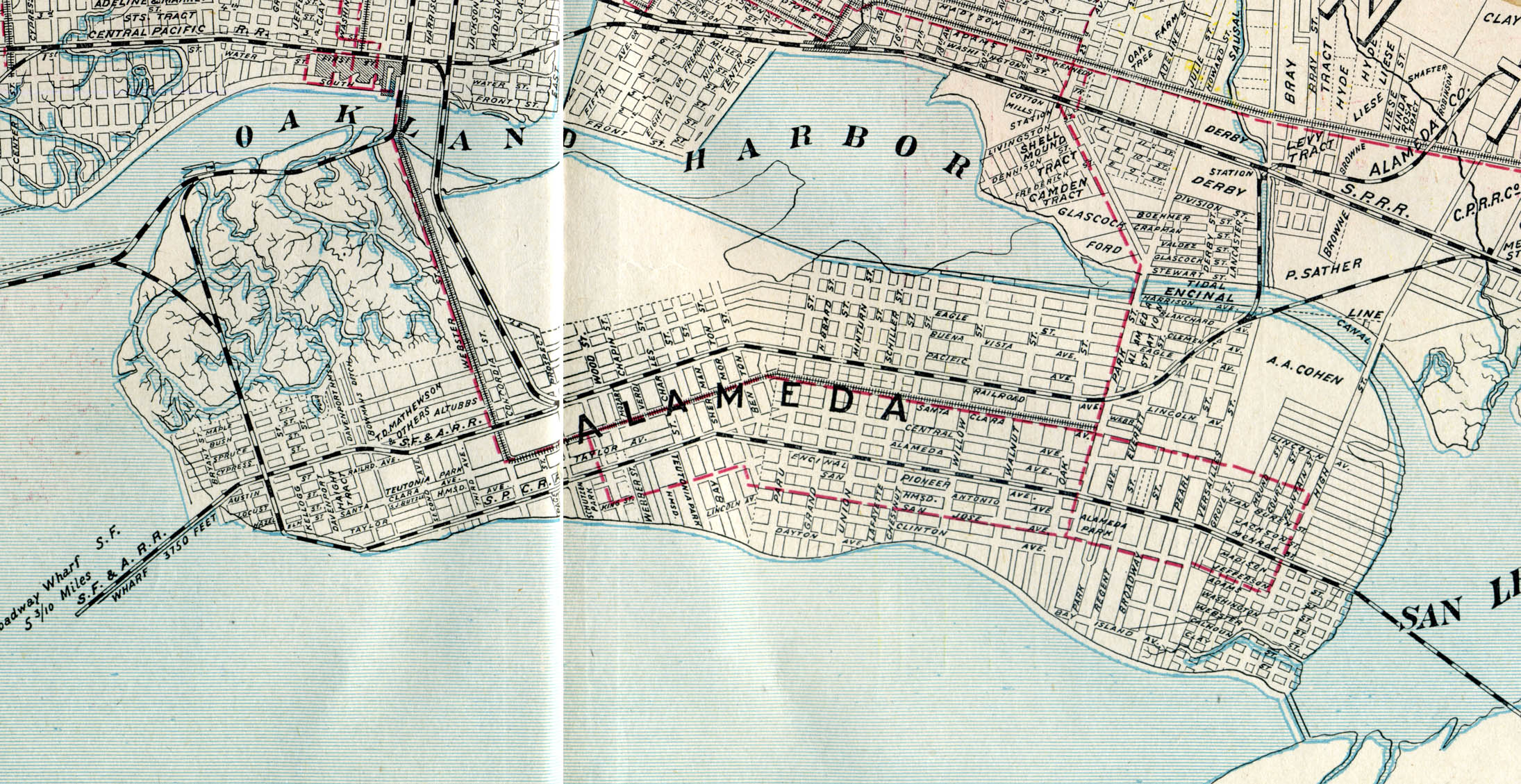 Alameda, California, 1908 old map   Alamedainfo