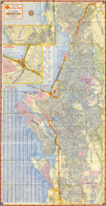 Shell Street Map of East Bay Cities, showing Alameda, California, 1957