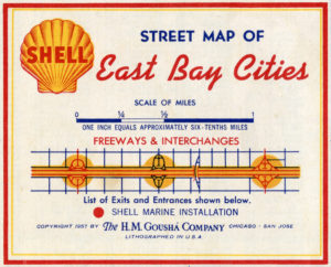 Shell Street Map of East Bay Cities, showing Alameda, California, 1957, Legend