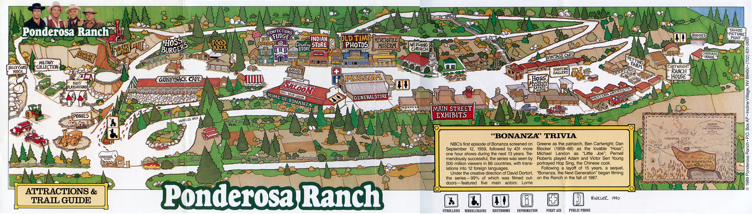 Ponderosa Ranch, Lake Tahoe, Attractions and Trail Guide Map, 1989