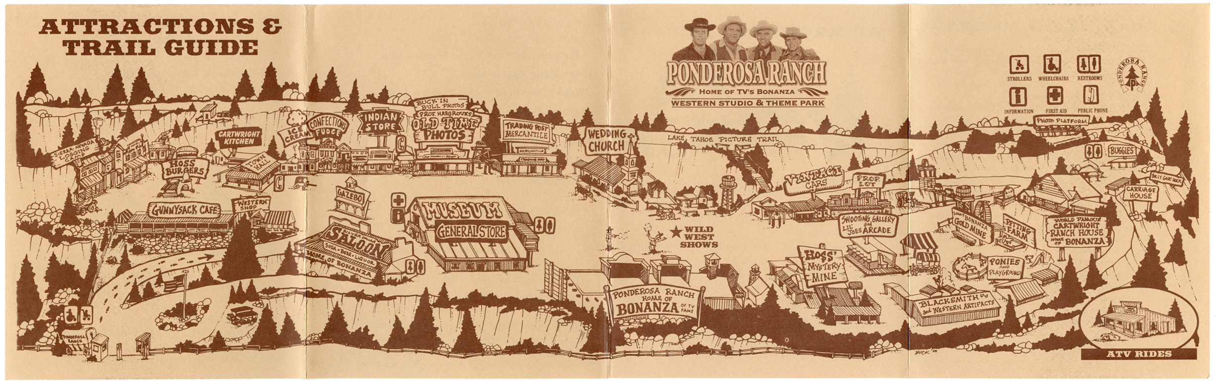Ponderosa Ranch, Western Studio and Theme Park, Attractions and Trail Guide, Map