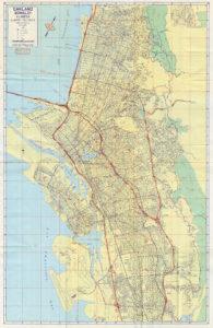 1962 CSAA Road Map OAKLAND BERKELEY ALAMEDA California