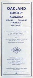 1962 CSAA Road Map cover, OAKLAND BERKELEY ALAMEDA California