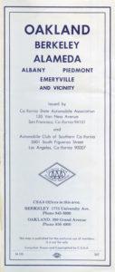 1962 CSAA Road Map cover, OAKLAND BERKELEY ALAMEDA California