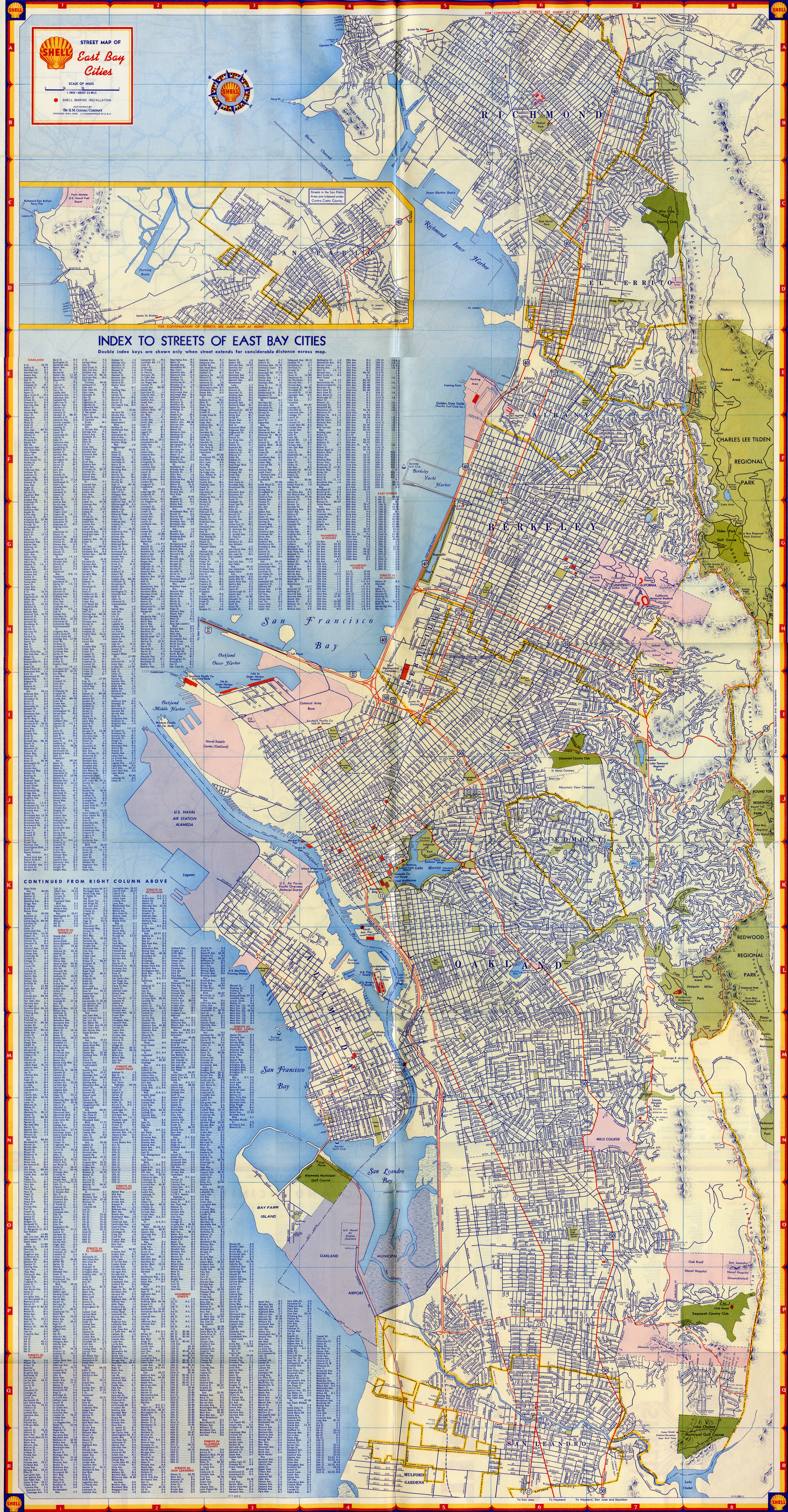 Alameda California Shell Map Of Oakland East Bay Cities