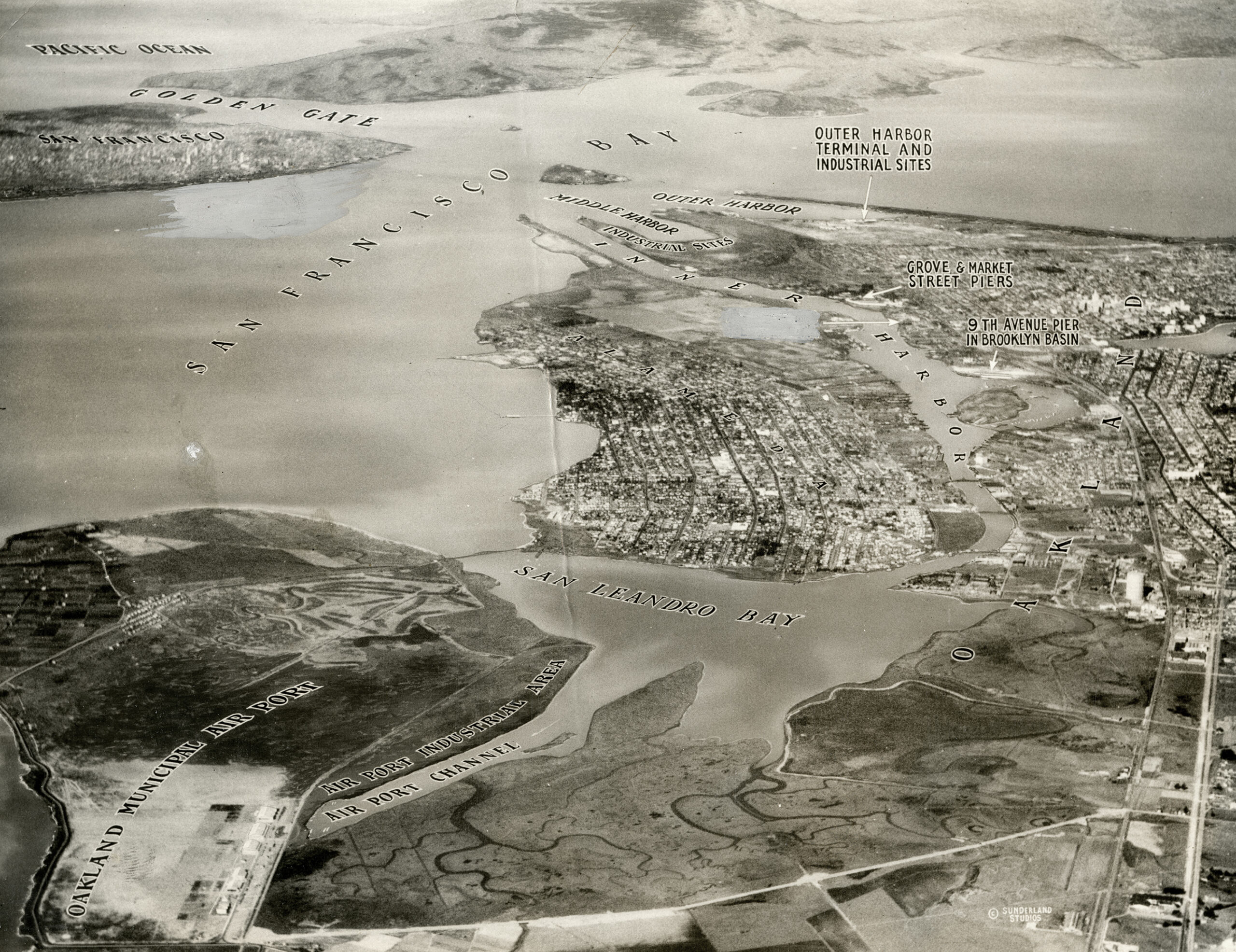 Alameda and Oakland, showing Oakland Airport and San Leandro Bay in foreground, 1930.