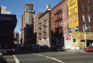 E. 95th St. and 1st Ave., NYC, Normandie Court Construction in background, April 1986