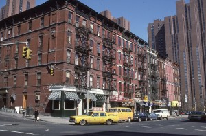 2nd Ave. and E. 89th St. looking towards E. 90th St., NYC, April 1986
