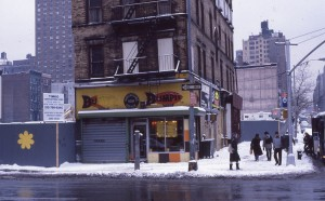 Blimpie at E. 96th St and 2nd Ave., and Normandie Court construction, NYC, February 1985