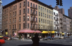 E. 88th St. and 2nd Ave, showing Dresner's and Elaine's, NYC, April 1986