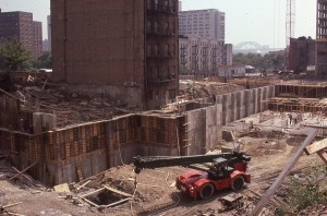 3rd Ave. and E. 95th St., looking towards E. 96th St. and 2nd Ave., during Normandie Court Construction, October 1985