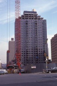 3rd Ave. at E. 94th St. looking towards 2nd Ave., NYC, showing the construction of Astor Terrace, Feb. 1985