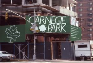 Carnegie Park Sign, 3rd Ave. and E. 93rd St., NYC, Oct. 1985