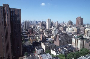 View looking downtown, down 3rd Ave., from the top of Carnegie Park at E. 94th St., NYC, photo taken June 1990