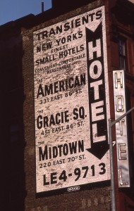 American Motrel sign on side of building, 331 East E. 86th St., NYC August 1985
