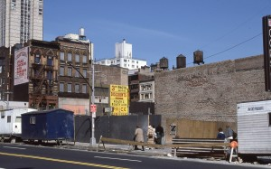 E. 86th St. looking towards 3rd Ave., site of old Woolworth's Bldg., April 1986