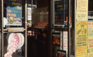 Papaya King, E. 86th St. and 3rd Ave., NYC, January 1989 signs on door