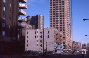 Looking up York Ave from E. 90th St., NYC, January 1985