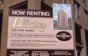 The Barclay, Now Renting Sign, 1755 York Ave., between E. 91st St. and E. 92nd St., NYC, Feb. 1985