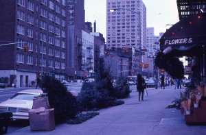 York Ave. and E. 87th St., looking towards E. 86th St., Gristede's seen on the right, December 1983