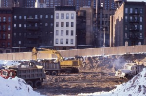 E. 95th St. between 2nd and 3rd Ave., NYC, Feb. 1985. Preparing the lot for Normandie Court.