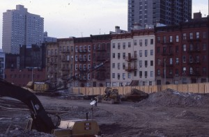 E. 95th St., between 2nd and 3rd Ave., during construction of Normandie Court, February 1985