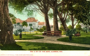 A bit of the Park, Aalmeda, California, mailed 1915