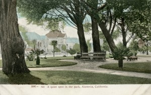 A quiet spot in the park, Alameda, California, mailed 1908