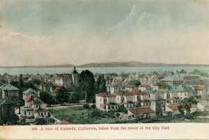 A view of Alameda, California, taken from the tower of the City Hall