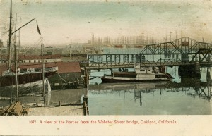 A view of the harbor from the Webster Street bridge, Oakland, California