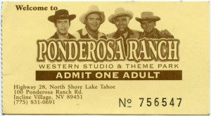 Admit One Adult Ticket, Ponderosa Ranch, Western Studio and Theme Park, Incline Village Nevada