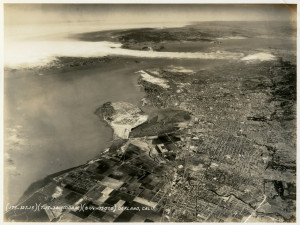Aerial photo showing San Leandro, Bay Farm Island, Alameda, Oakland, July 1934.
