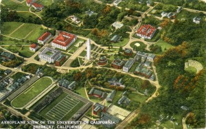 Aeroplane View of the University of California, Berkeley, California, mailed 1922