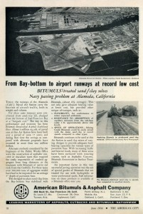 Ad showing Alameda Naval Air Station and runways, 1956