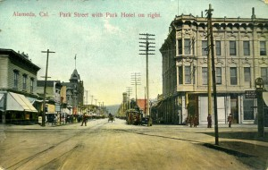 Alameda, Cal. - Park Street with Park Hotel on right