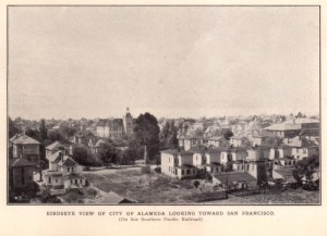 Birdseye View of City of Alameda looking toward San Francisco
