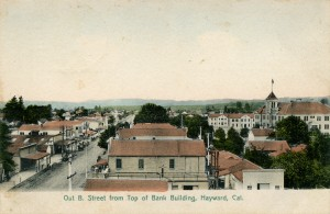 B Street from Top of Bank Building, Hayward, California