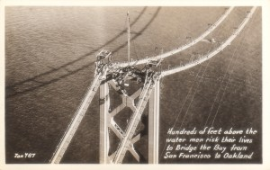 San Francisco - Oakland Bay Bridge Men Risk Their Lives