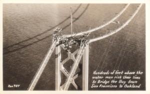 San Francisco - Oakland Bay Bridge Men Risk Their Lives