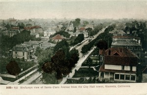 Bird's-eye view of Santa Clara Avenue from the City Hall tower, Alameda, California