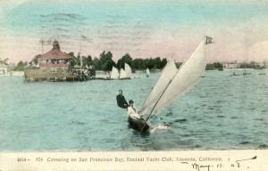 Canoeing on San Francisco Bay, Encinal Yacht Club, Alameda, California, mailed 1908