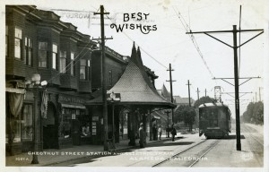 Chestnut Street Station and Electric Train, Alameda, California. Old postcard mailed in 1912