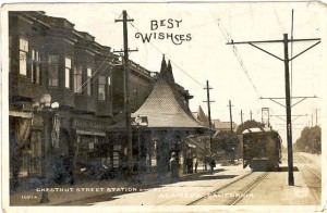 Chestnut Street Station and Electric Train, Alameda, California
