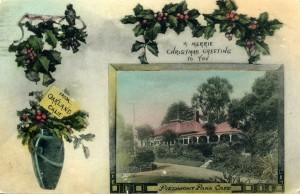 Christmas Greeting from Oakland, Calif., Piedmont Park Cafe, mailed 1909